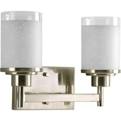 Alexa Collection 2-Light Brushed Nickel Etched Linen With Clear Edge Glass Modern Bath Vanity Light