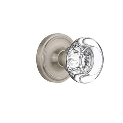 Classic Rosette 2-3/8 in. Backset Satin Nickel Passage Hall/Closet Round Clear Crystal Glass Door Knob