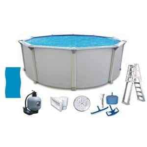Huntington 21 ft. Round 54 in. D Metal Wall Above Ground Hard Side Pool Package