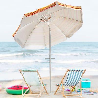 6.5 ft. Aluminum Beach Umbrella Sun Shade Tilt in Red and Yellow