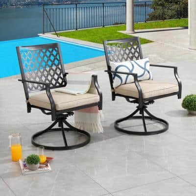Swivel Metal Outdoor Lounge Chair with Beige Cushions