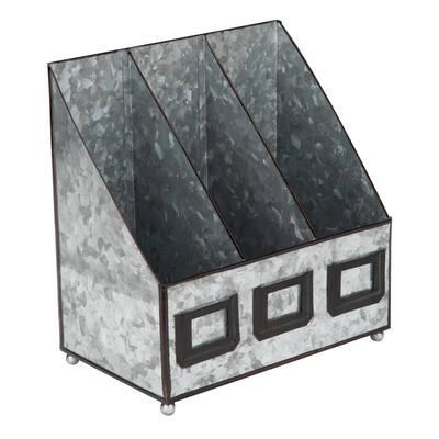 Rustic Magazine Organizer, Three Section Vertical Compartments, Galvanized Iron, Silver, 5.91″ L x 9.84″ W x 9.84″ H