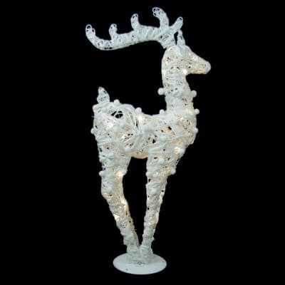 36 in. Battery Operated White and Silver Glittered LED Lighted Reindeer Christmas Decoration