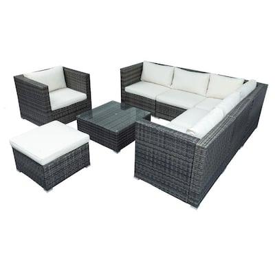 Viraha Gray 8-Piece Patio Wicker Corner Sofa with Beige Cushions, Ottoman and Coffee Table