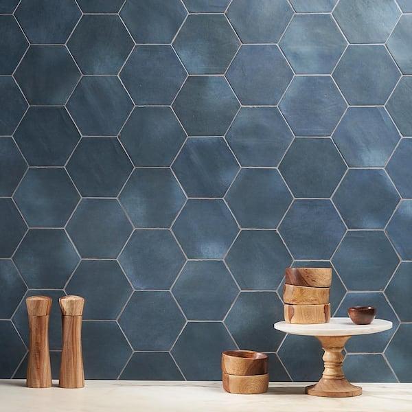alexandria denim blue hexagon 5 5 in x 6 in matte floor and wall porcelain tile 5 38 sq ft case