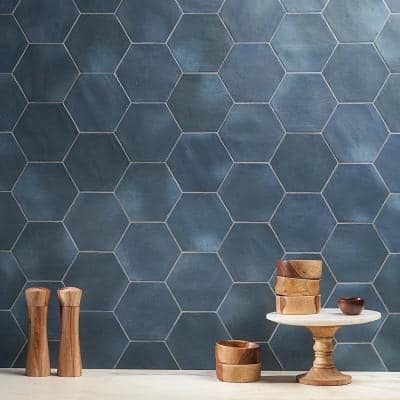 Alexandria Denim Blue Hexagon 5.5 in. x 6 in. Matte Floor and Wall Porcelain Tile (5.38 sq. ft. / Case)