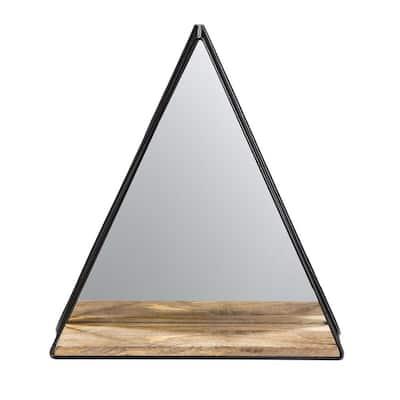 18 in. x 16 in. Modern Novelty Framed Triangle Gatana Black Shelf Accent Mirror