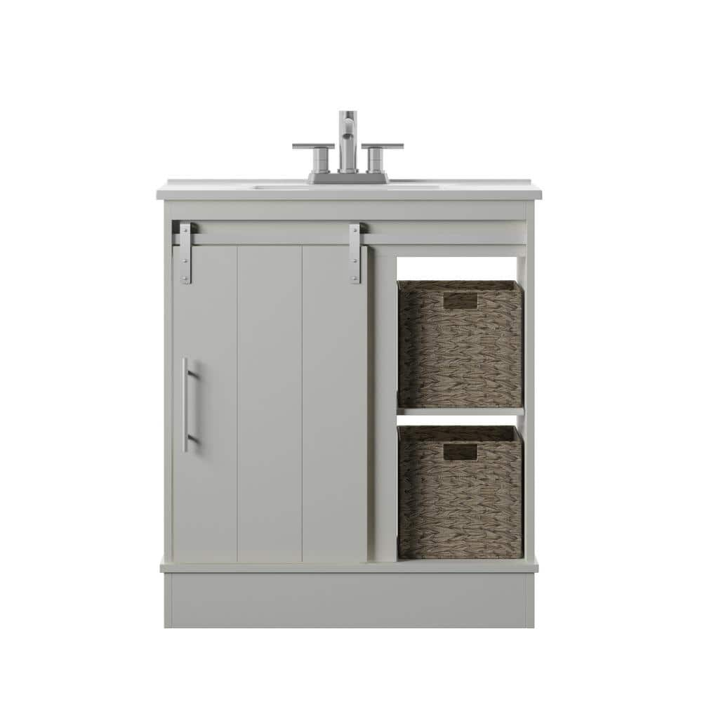 Twin Star Home 30 In D X 18 In W X 34 In Barn Door Bath Vanity In White W Vanity Top In White And White Basin 30bv34217 T401 The Home Depot