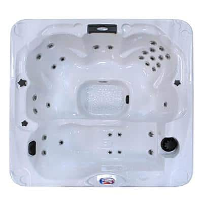 6-Person 30-Jet Premium Acrylic Lounger Bath White Spa Hot Tub with Backlit LED Waterfall