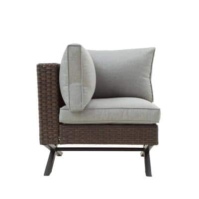 Wicker Outdoor Right-Arm Lounge Chair with Gray Cushion