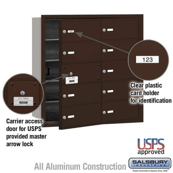 Salsbury Industries Bronze Usps Access Front Loading 4b Plus Horizontal Mailbox With 10b Doors 9 Usable 3610zfu The Home Depot