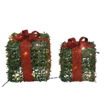 10 in. and 13 in., Set of 2 Presents, with 45 Lights Knock Down