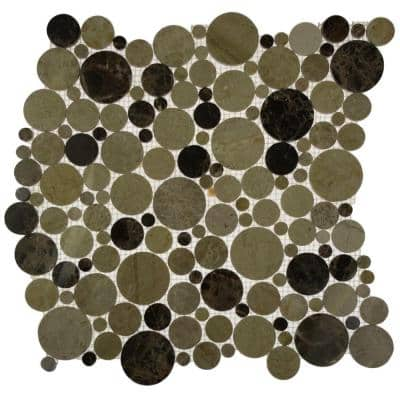 Orbit Woodland Circles 12 in. x 12 in. x 8 mm Mosaic Floor and Wall Tile