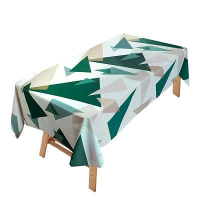 55 in. W x 106 in. L Green and White Geometric Vinyl Tablecloth