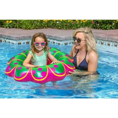 Swimming Pool Inflatable Pink Flower Baby Rider Float