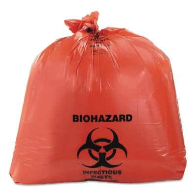24 in. x 23 in. 10 Gal. 1.3 mil Red Healthcare Biohazard Printed Trash Can Liners (500/Carton)