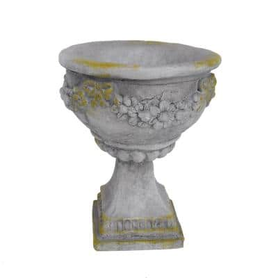 Cassia 10.25 in. x 10.25 in. Grey with Moss Lightweight Concrete Outdoor Garden Urn Planter with Garland Accents