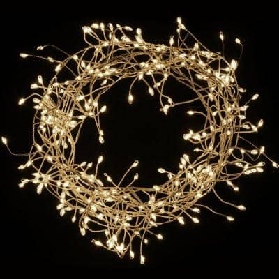 300-Lights LED Warm White Electric Firecracker Fairy String Lights