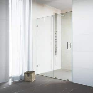 Ryland 48 to 50 in. W x 73 in. H Sliding Frameless Shower Door in Stainless Steel with Clear Glass