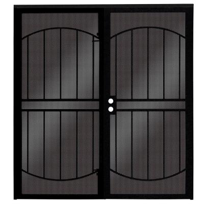 72 in. x 80 in. ArcadaMAX Black Surface Mount Outswing Steel Security Double Door with Perforated Metal Screen