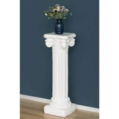 Decor White Plinth Roman Style Column Pedestal, Display Flower Vase Stand, 39.75 in.