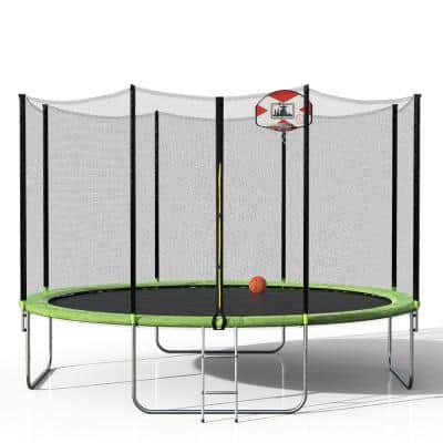 14 ft. Round Trampoline with Safety Enclosure and Basketball Hoop