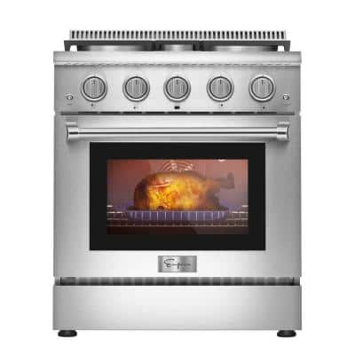 30 in. 4.2 cu.ft. Pro-Style Slide-In Single Oven Gas Range with 4-Sealed Burners in Stainless Steel