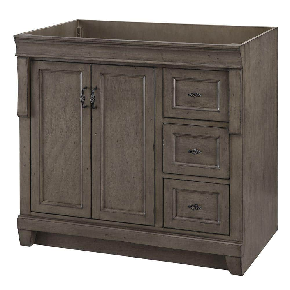 Home Decorators Collection Naples 36 In W Bath Vanity Cabinet Only In Distressed Grey With Right Hand Drawers Nadga3621d The Home Depot