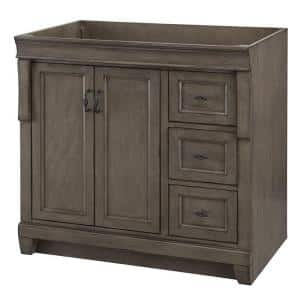Naples 36 in. W Bath Vanity Cabinet Only in Distressed Grey with Right Hand Drawers