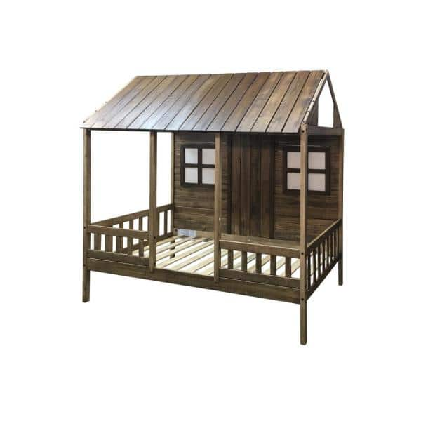 Donco Kids Front Porch Rustic Driftwood Twin Low Loft Bed | The Home Depot