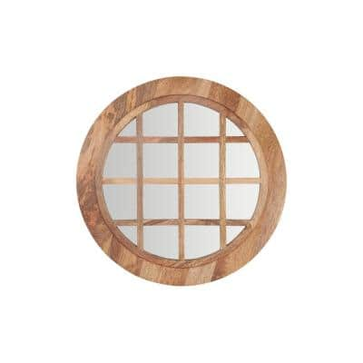 Medium Round Brown Windowpane Natural Wood Finish Classic Accent Mirror (28 in. Diameter)