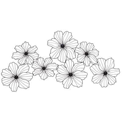 21 in. x 43 in. Black Metal Modern Floral Wall Decor