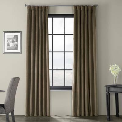 Denver Taupe Velvet Rod Pocket Blackout Curtain - 50 in. W x 108 in. L