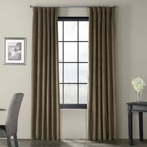 Denver Taupe Velvet Rod Pocket Blackout Curtain - 50 in. W x 120 in. L