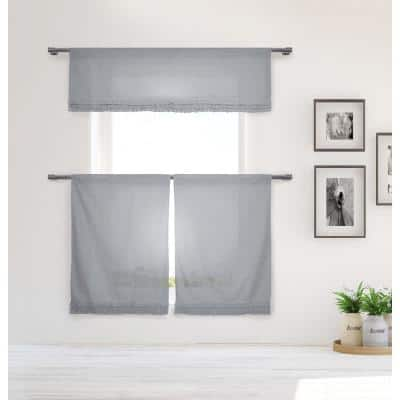 White-Grey Solid Rod Pocket Room Darkening Curtain - 15 in. W x 58 in. L (Set of 2)