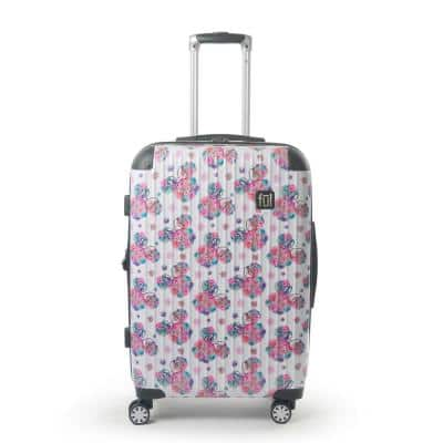 Disney Minnie Mouse Floral 25 in. White Printed Hard-Sided Rolling Luggage