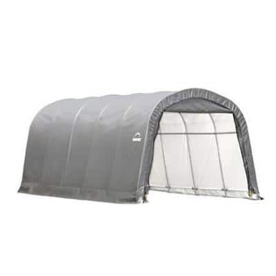 12 ft. W x 20 ft. D x 8 ft. H Steel and Polyethylene Garage without Floor in Grey with Corrosion-Resistant Steel Frame