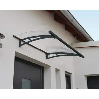 Aquila 3 ft. x 5 ft. Gray/Clear Door and Window Awning