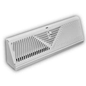 15 in. 3-Way Steel Baseboard Diffuser Supply in White