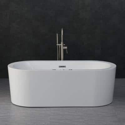 Andria 67 in. Acrylic Freestanding Flat Bottom Whirlpool and Air Bathtub with Drain and Overflow Included in White