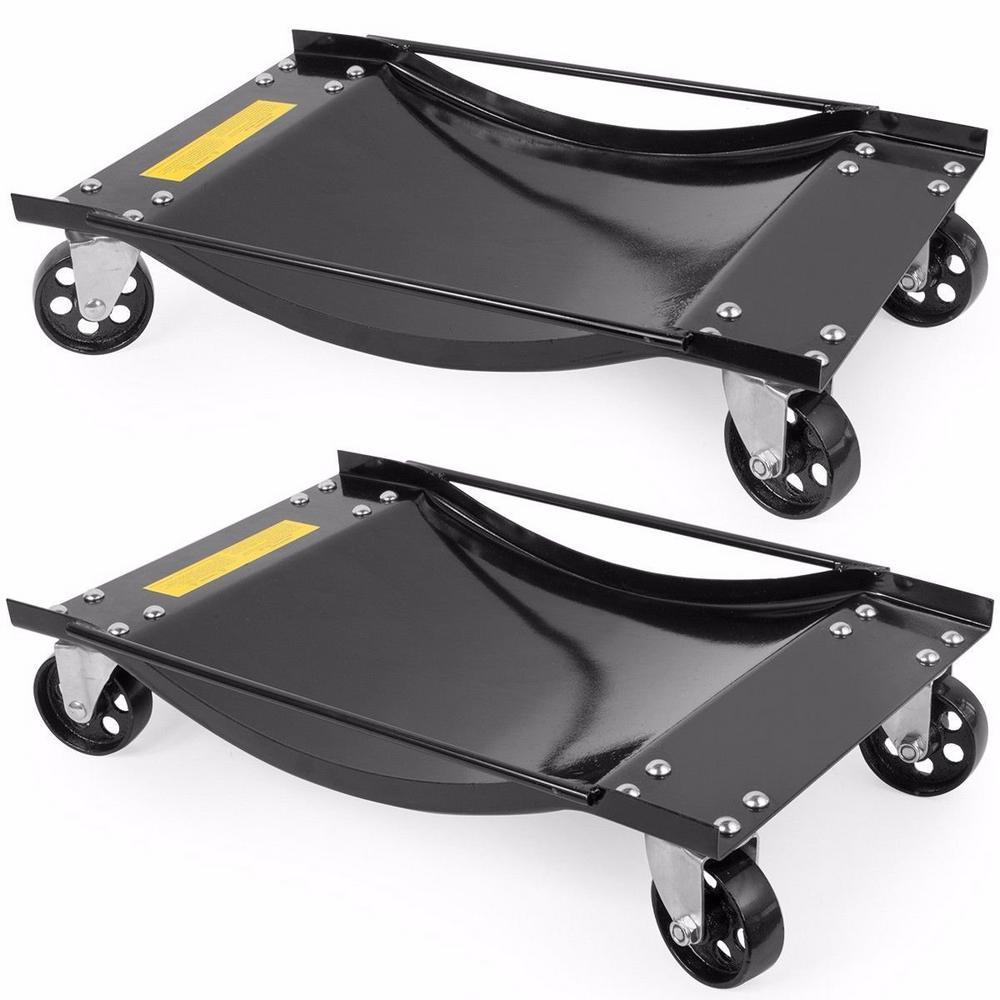 1000 lbs. Capacity Steel Tire Skates Swivel Car Wheel Dolly Set (2-Piece)