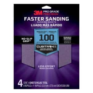 Pro Grade Precision 9 in. x 11 in. 100 Grit Medium Advanced Sanding Sheets (4-Pack)