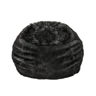 3 ft. Black Faux Fur Bean Bag with White Streaks