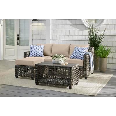 Briar Ridge 3-Piece Brown Wicker Outdoor Patio Sectional Sofa with CushionGuard Putty Tan Cushions