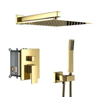 Norwood Waterfall Luxury Single-Handle 1-Spray High Pressure Shower Faucet in Brushed Gold(Valve Included)