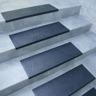 """""""Coin-Grip"""" Black 9.75 in. W x 29.75 in. L Non-Slip Rubber Tread Stair Mats (6 Pack)"""