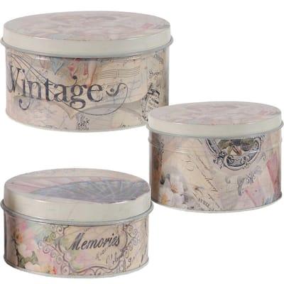 0.3 sq ft Awesome Multi Color Decorative Tin Box (Set of 3 box)