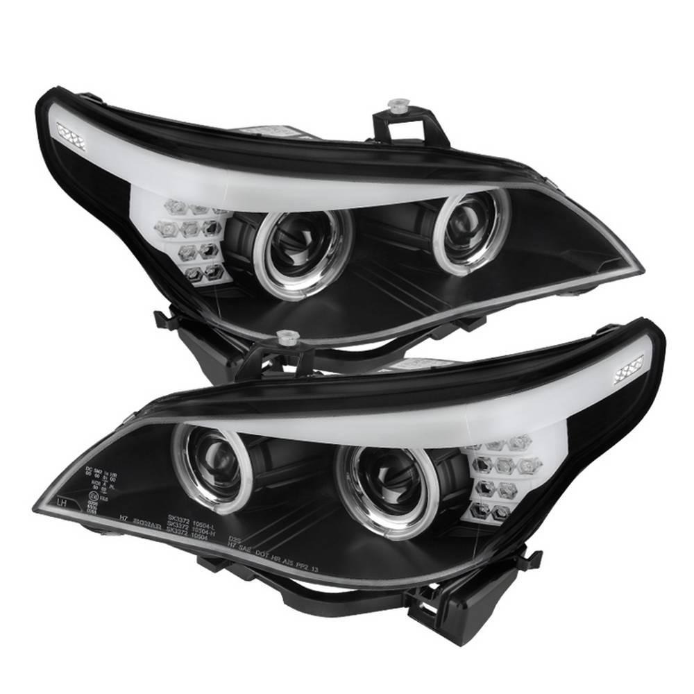 BMW E60 5-Series 04-07 Projector Headlights - Halogen Model Only- CCFL Halo - Black