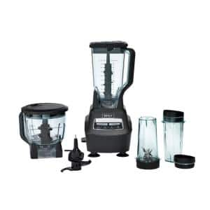 Mega Kitchen System 72 oz. 5-Speed Black Blender and Food Processor with Travel Cups