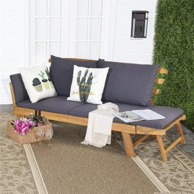 Natural Wood Outdoor Sofa Day Bed Adjustable Furniture with Gray Cushion